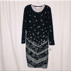NEW Lularoe Debbie Black Gray Dress L